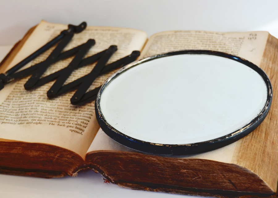 French Black Metal Oval Barber Shop Mirror 1800s-