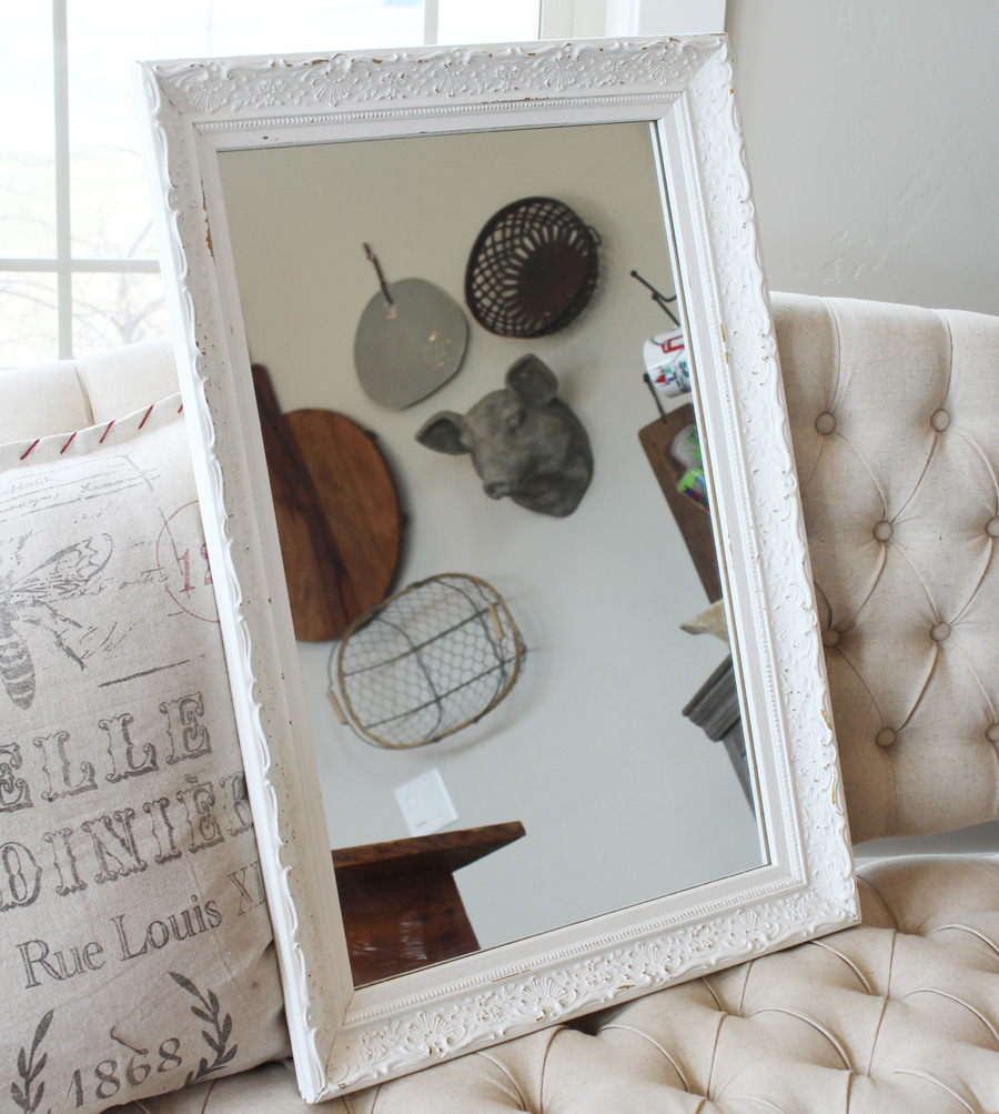 Antique Old Thick Ornate Chunky Framed Mirror-