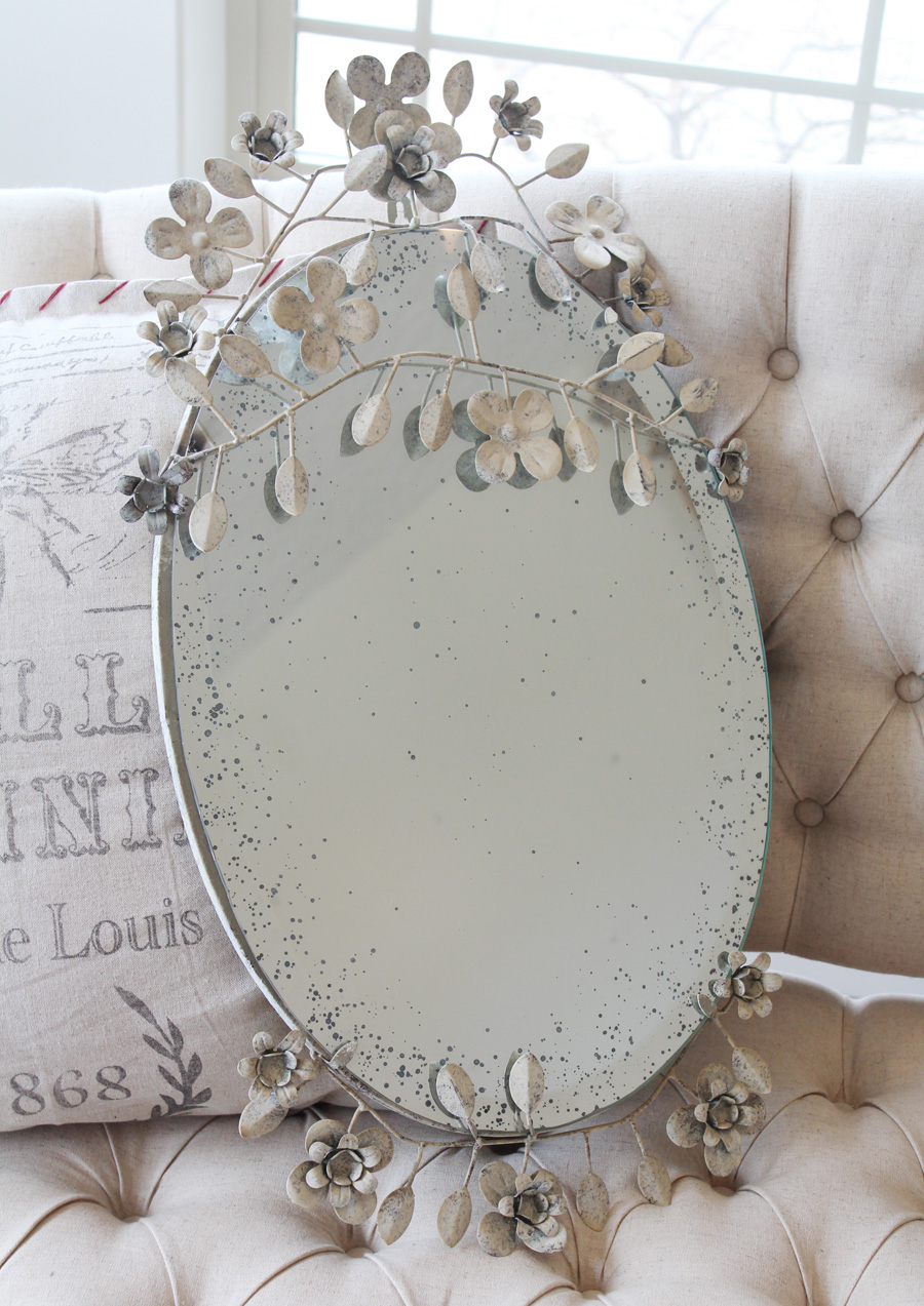 Beautiful Tole Flowers Beveled & Aged Mirror-
