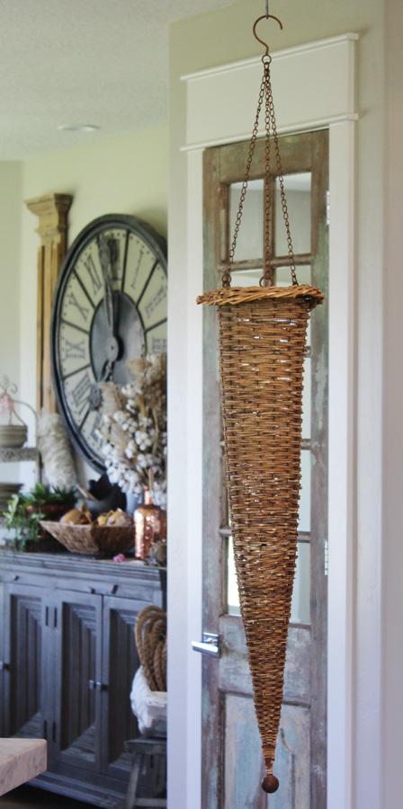 VIntage Wicker & Wood Hanging Farmhouse Basket-