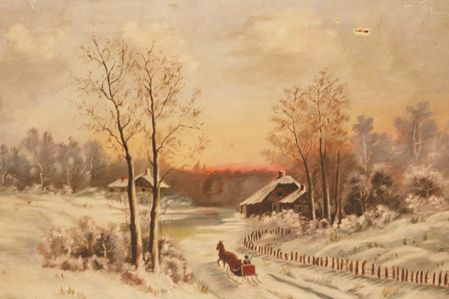 Early 1900s Victorian Winter Wonderland Painting-