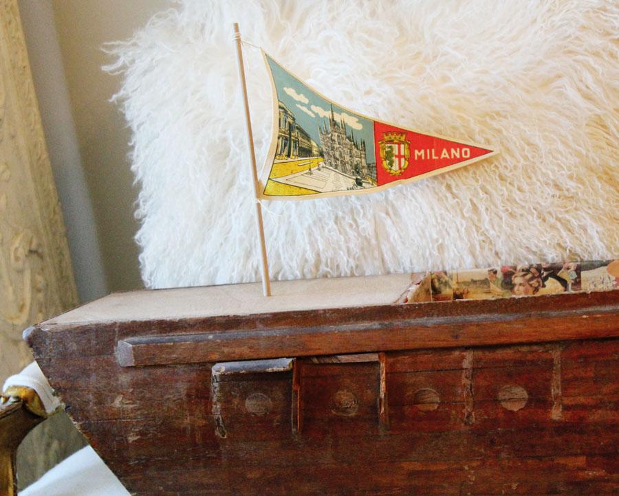 1920s Italian Handmade Xlarge Wooden Canal Gondola Boat w/Flag-
