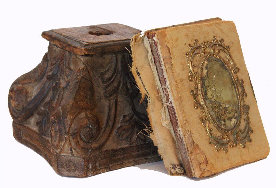 Antique Carved Wood Capital Column Architetural Fragment-