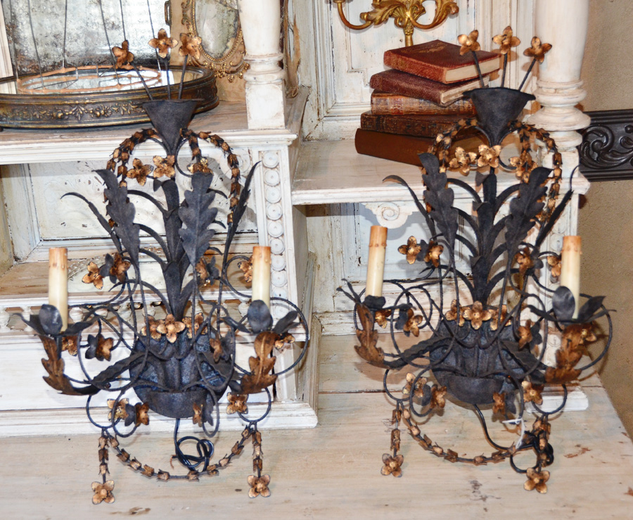 Pair Antique Wrought Iron & Gilt Italian Tole Electric Wall Sconces-Sconce, Electric, Vintage, antique, French, Italian, Lighting, Paris Flea Market, Paris Hotel, Tole, European, Interior, Design, Couture, Electric, Modern Rustic, Shabby Chic, Crystal, chandelier,