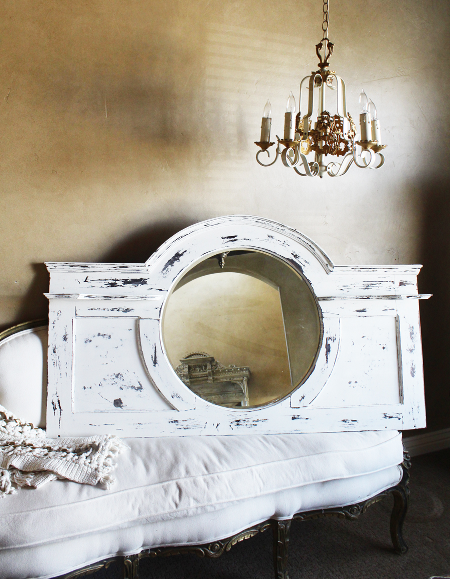 Antique Architectural Grand Mantle Mirror/Shelf Oval Beveled Beautiful-