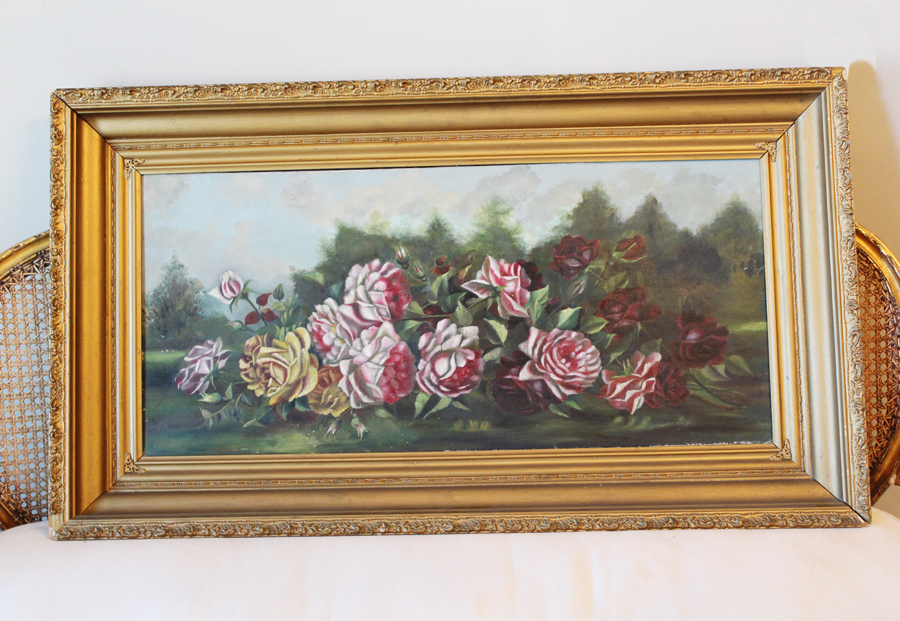 Incredible 1883 Antique Victorian Yard Long Painting Roses-Antique, painting, Roses, Flowers, Victorian, Sunday Painting, Yard Long, Shabby Chic