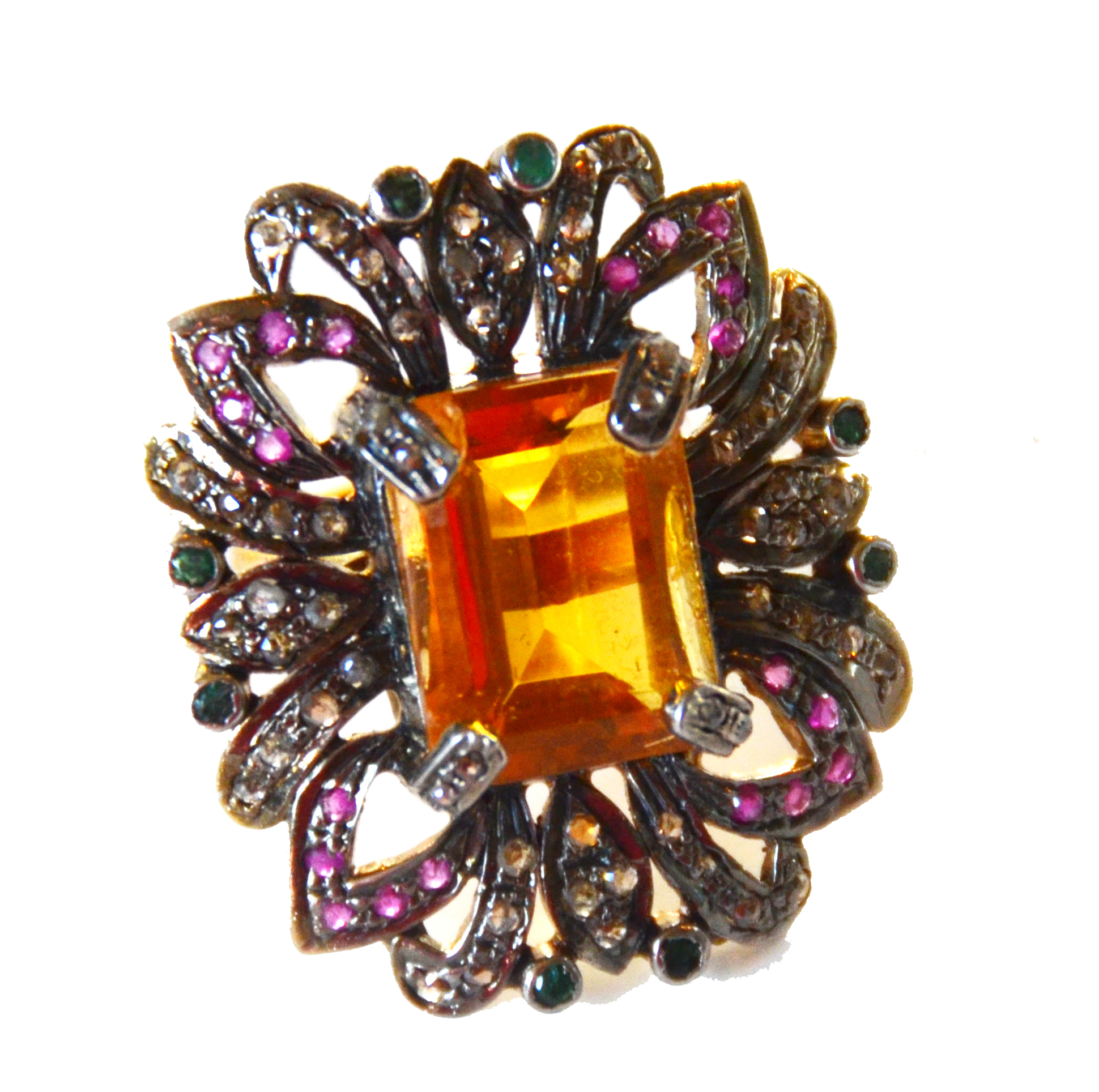Citrine, Rose Cut Diamonds, & Rubies Vintage Ring-