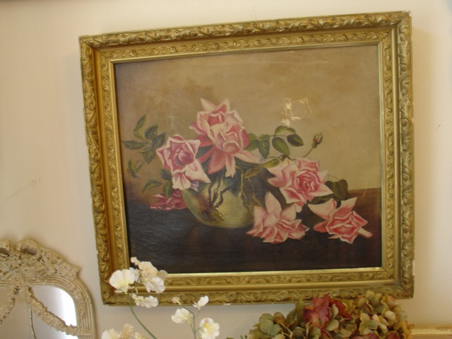 GORGEOUS 1900s Oil Painting Pink Roses Framed Victorian