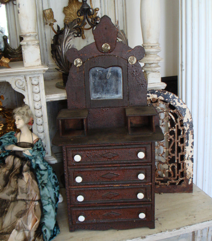Rare 1800s Tabletop Dresser Display European Flea Market-