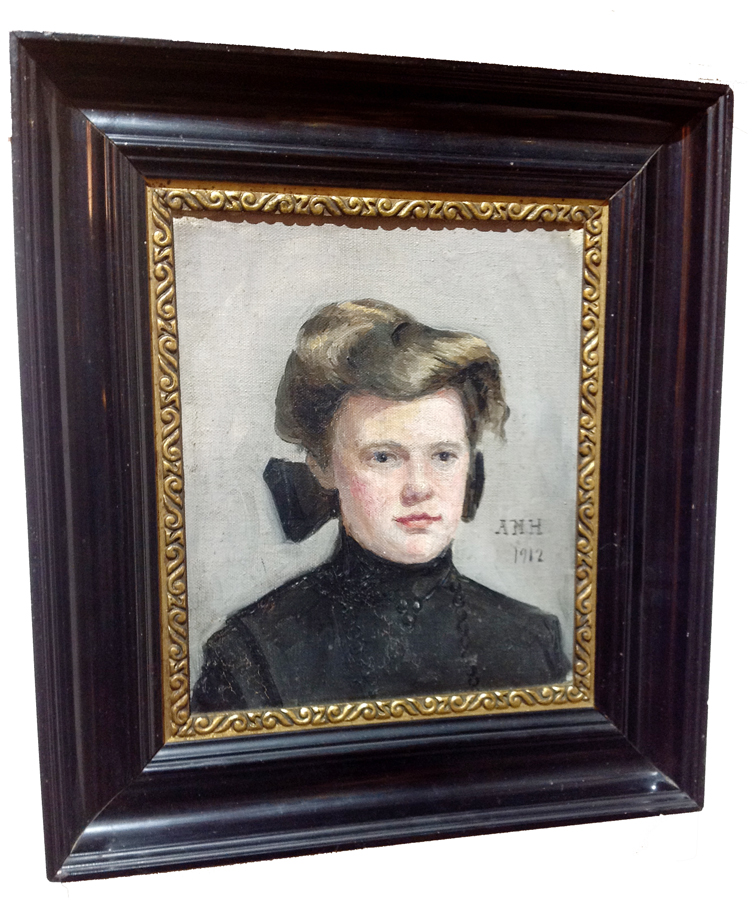 Antique Painting of Girl Dated 1912