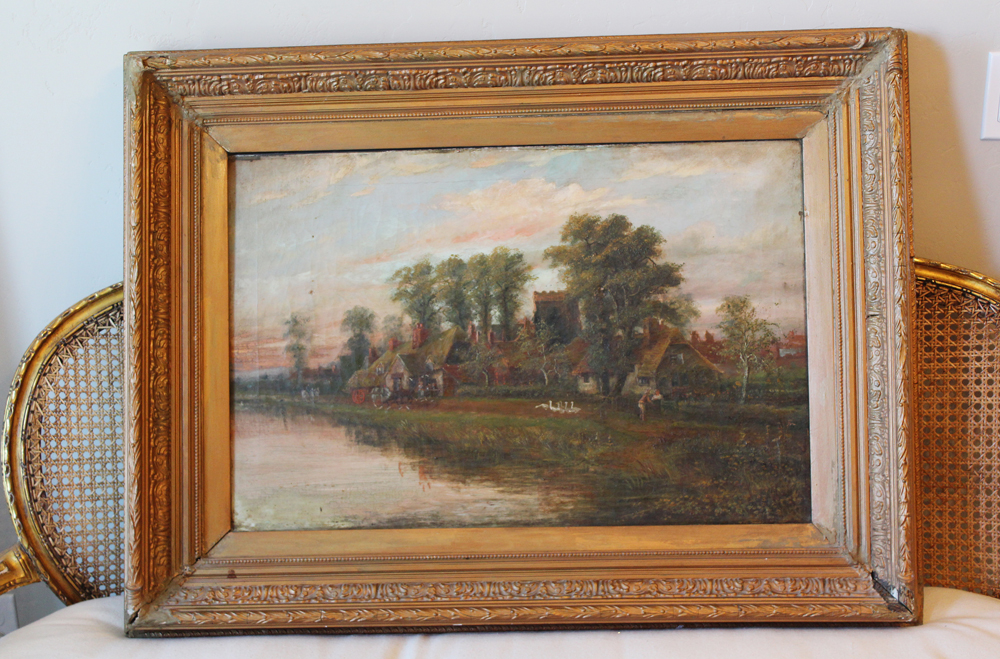 Late 1800s Antique Landscape Scenery Painting Gorgeous-