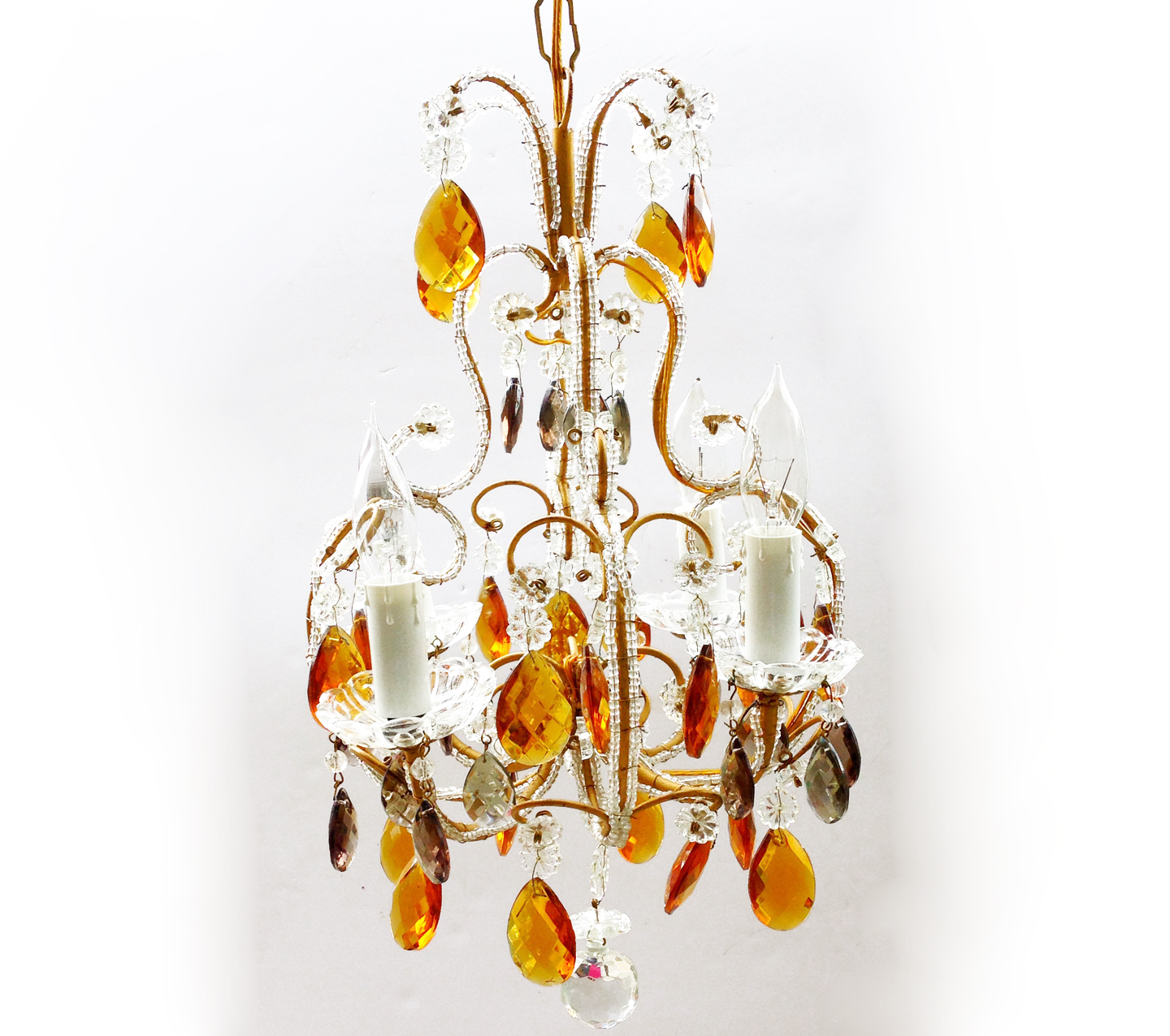 Antique Italian Beaded Chandelier Golden & Silver Prisms