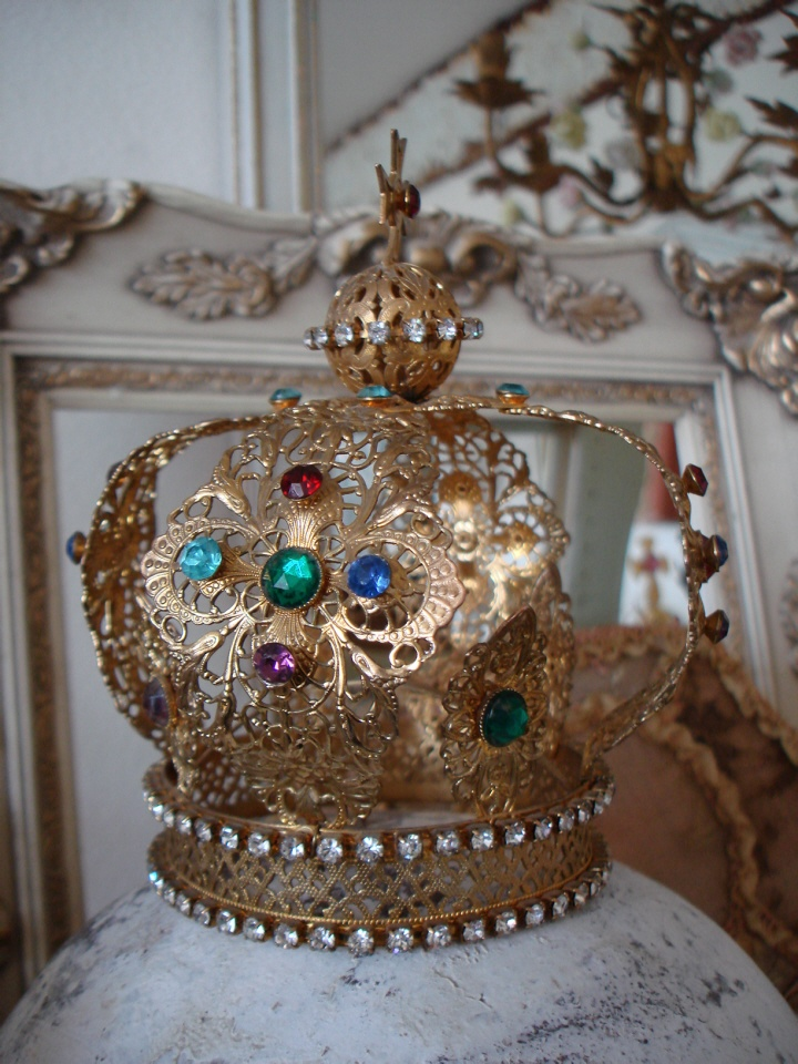 Antique French Jeweled Crown Incredible Details-