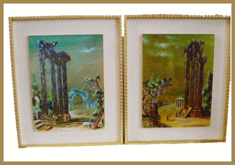 Pair Framed Architectural Landscape Paintings-