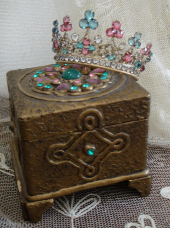 French Victorian C. 1900 GESSO FOOTED BOX Covered In Jewels-