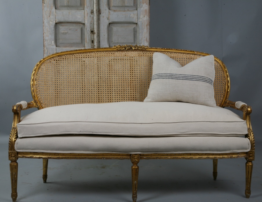 Antique French Cane Gilt Carved Sofa New Upholstery