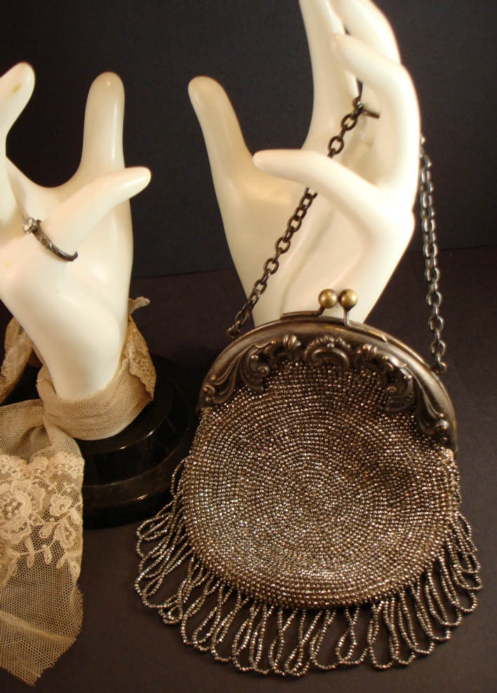 Antique Silver Victorian Beaded Purse Beautiful-
