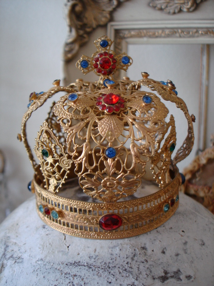 Late 1800s French Antique Jeweled Crown-