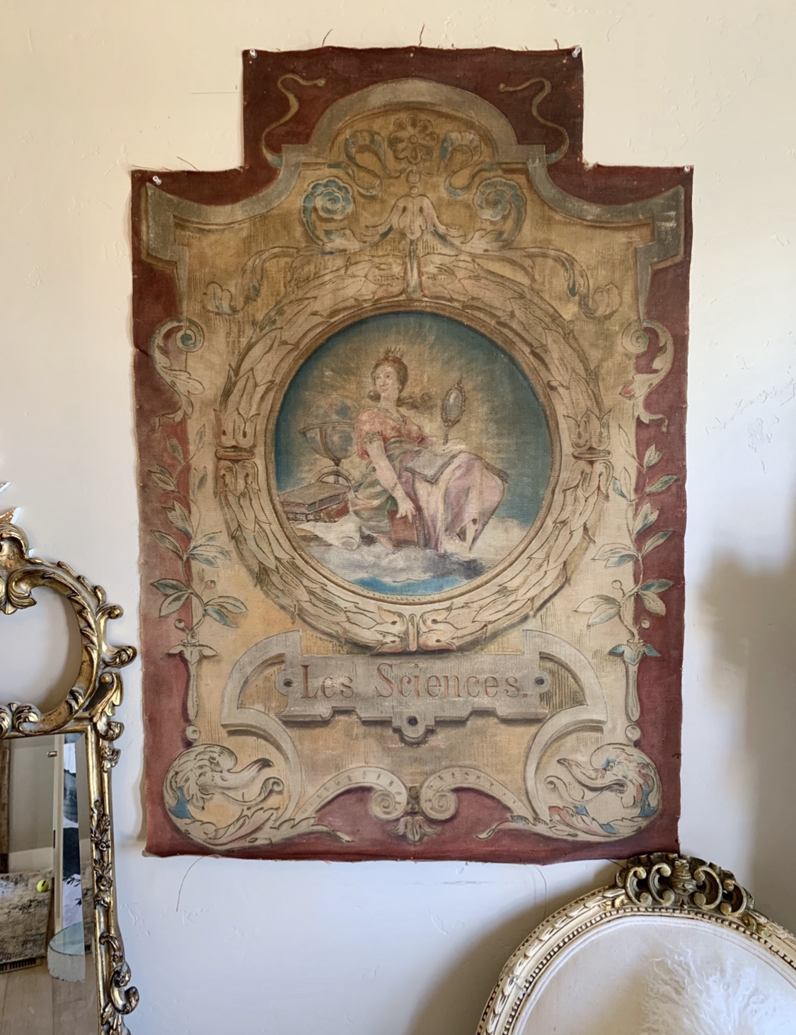 "Antique French ""Les Sciences"" Tapestry From Carousel"