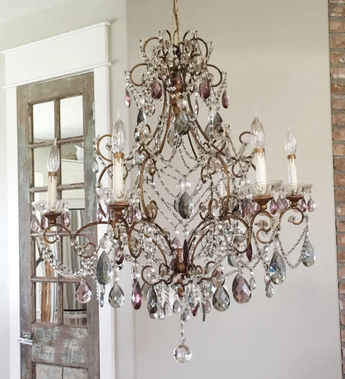 Amethyst & Smoke Antique Xlrg Italian Beaded Chandelier