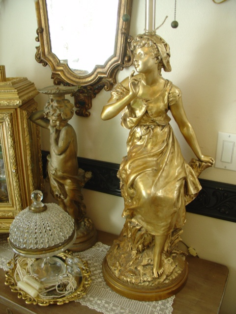 Gorgeous Antique Maiden Moreau Lamp Gold Gilt Patina