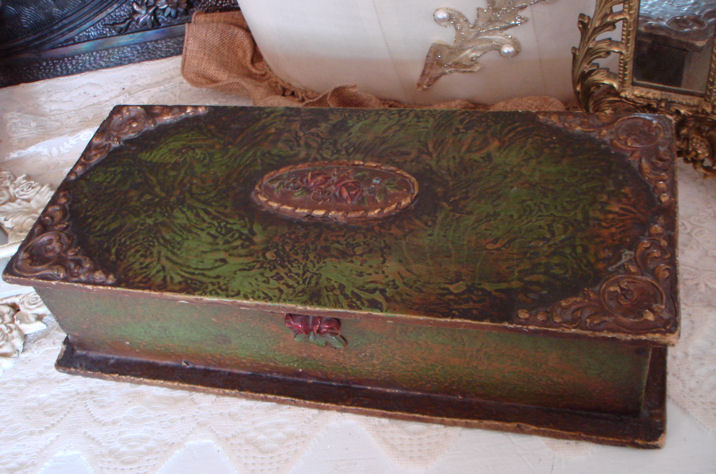 Incredible Large Antique Barbola Roses Dresser Box Boudoir