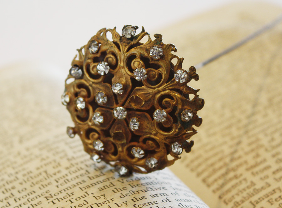 Beautiful Xlrg Antiques Hat Pin Rhinestones