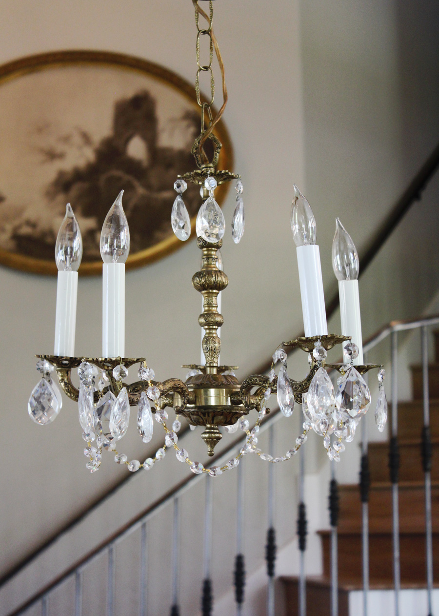 Petite Antique Brass & Crystal Chandelier-