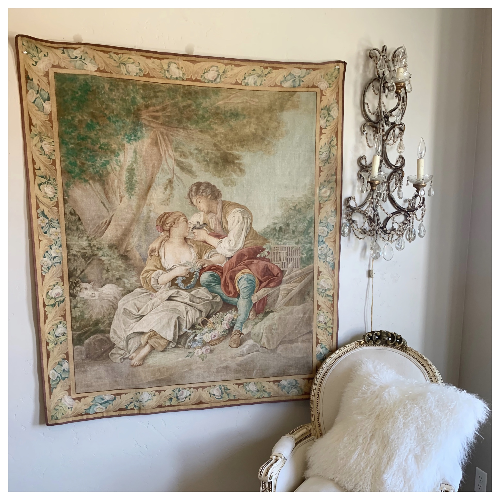 Rare French Handpainted Tapestry From a Carousel