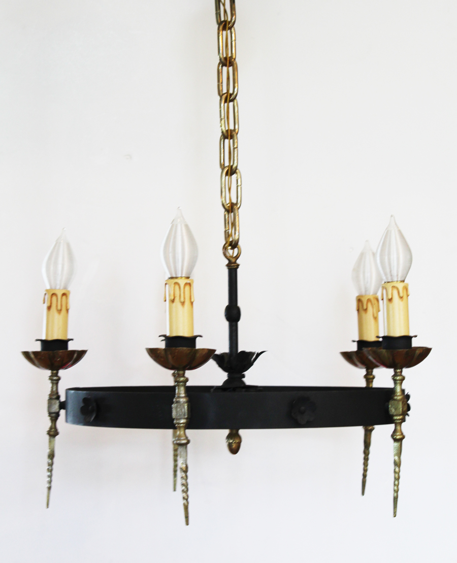 Antique Candelabra Bronze Chandelier 1800s
