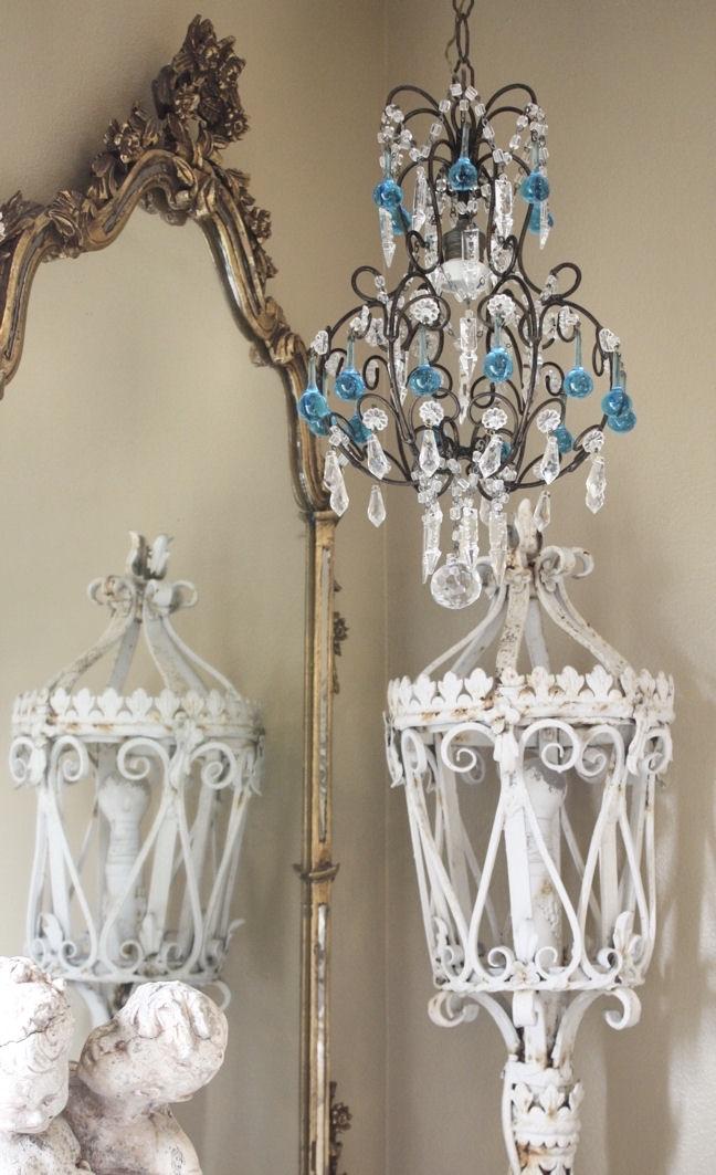 Italian Beaded Antique Chandelier Blue Drops Breathtaking