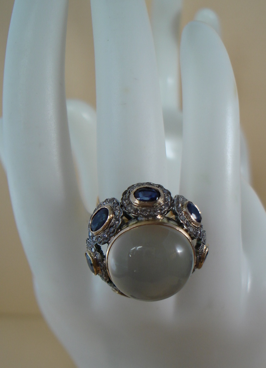Estate Cats Eye Moonstone, Sapphire & Diamonds Ring Beautiful