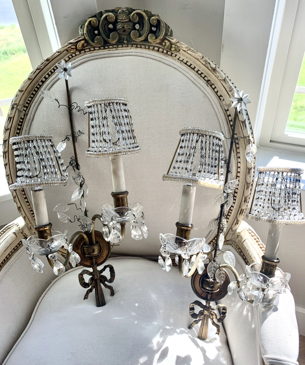 Incredible French Wall Sconces with Original Beaded Shades