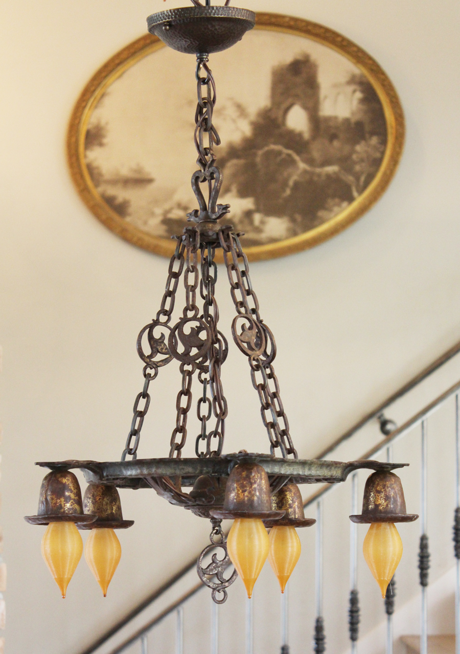 5 Arm Gothic Chandelier With Chains