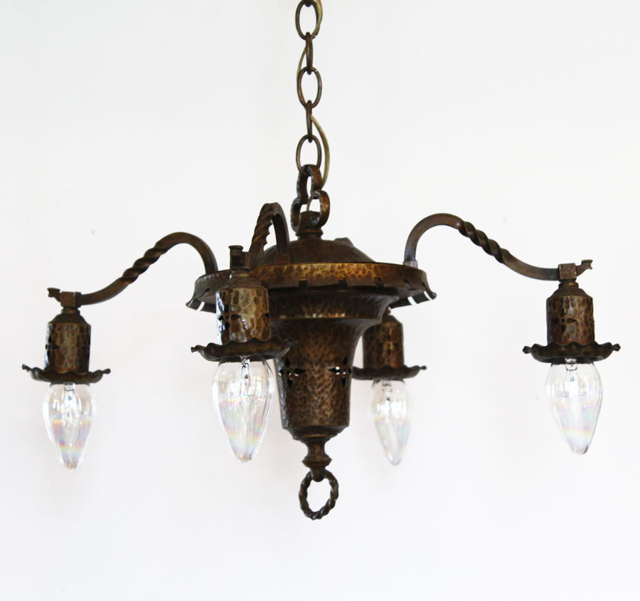 Antique Victorian Gothic 4 Arm Chandelier