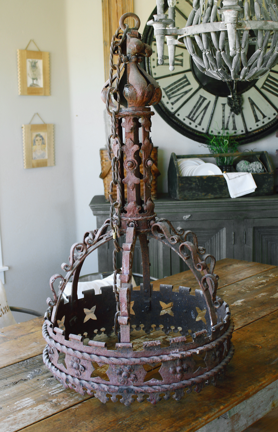 Huge Wrought Iron Chandelier 1700s From a Castle