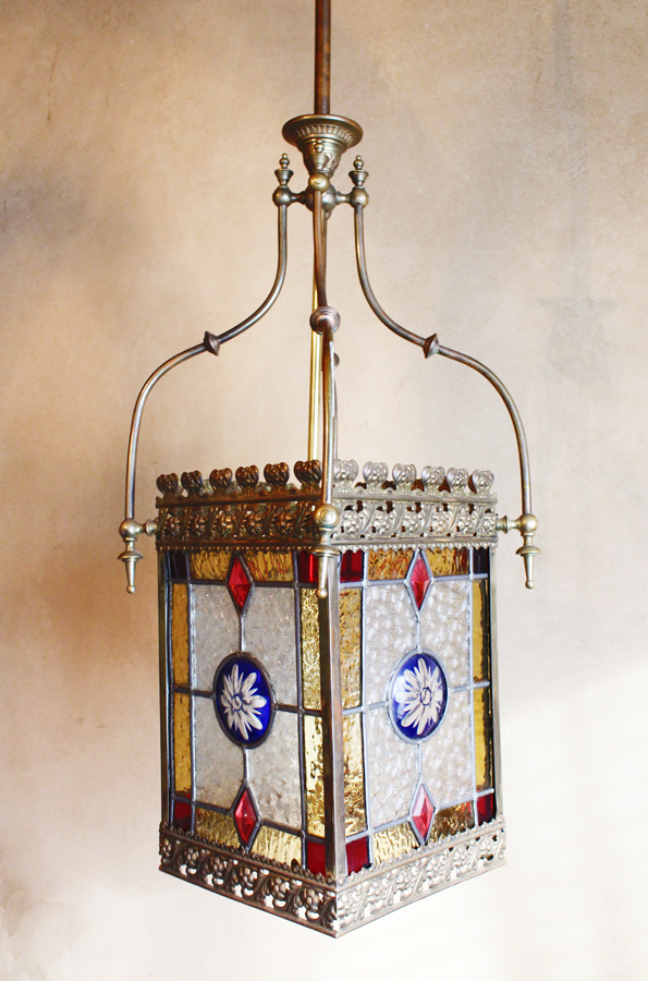 1800s Antique French Stained Glass Leaded Lantern Pendant-