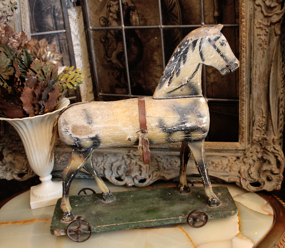 French Handpainted Antique Horse Pull Toy Gorgeous