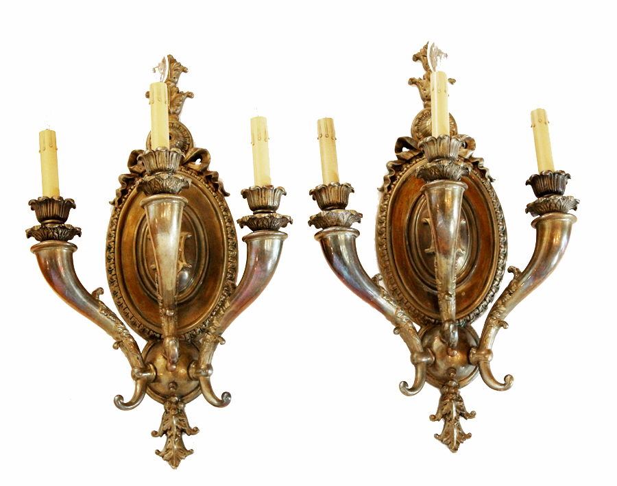 Xlrg Grand Pair Three Arm Bronze Wall Sconces