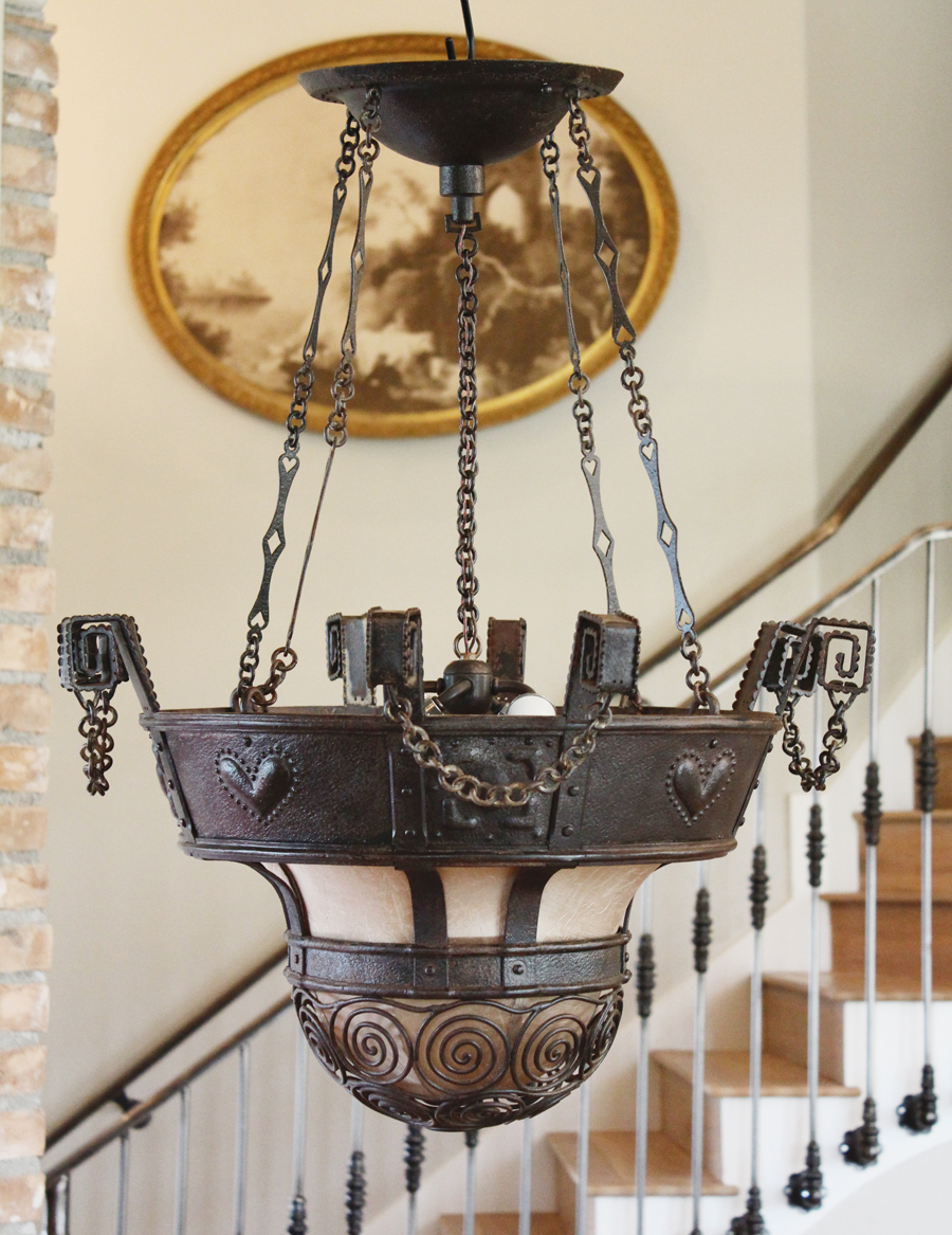 Antique Chain Wrought Iron Bowl Chandelier w/chain