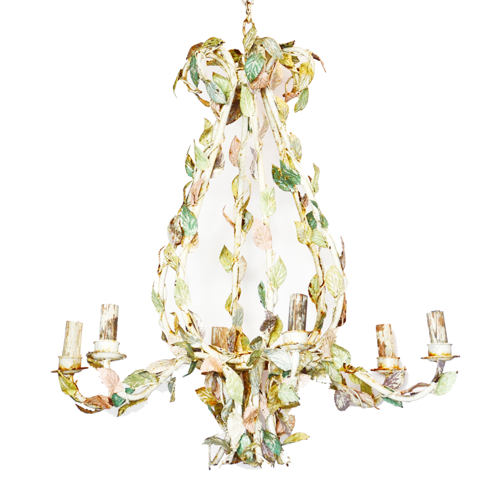 1800s Massive Incredible Pastel French Tole Chandelier-