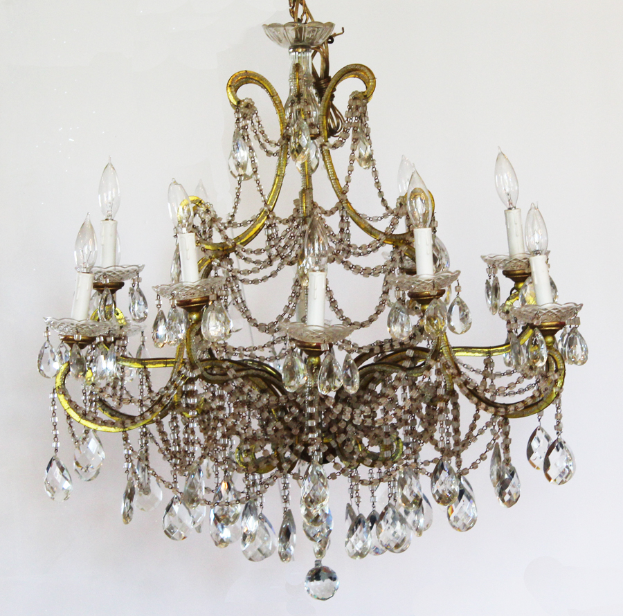 Rare Xlrg 12 Light Antique Beaded Chandelier