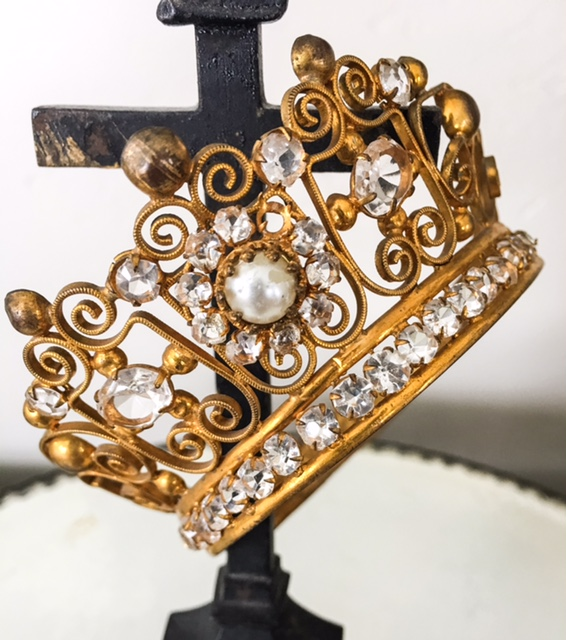 Antique French Jeweled Crown with Pearl Gorgeous-