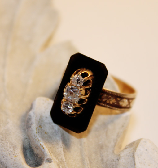 Victorian Black Onyx & Diamonds 1870s Ring-