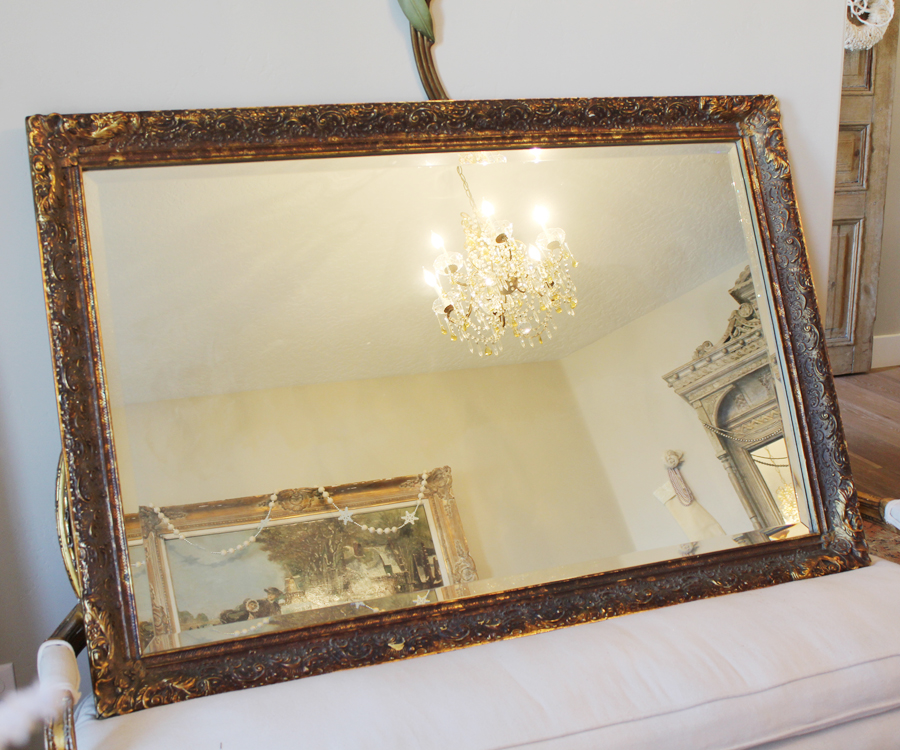 Incredible Antique French Beveled Xlarge Rectagular Mirror-