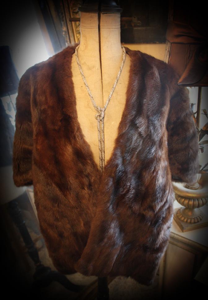 Gorgeous Vintage Fur Cloak Shawl-
