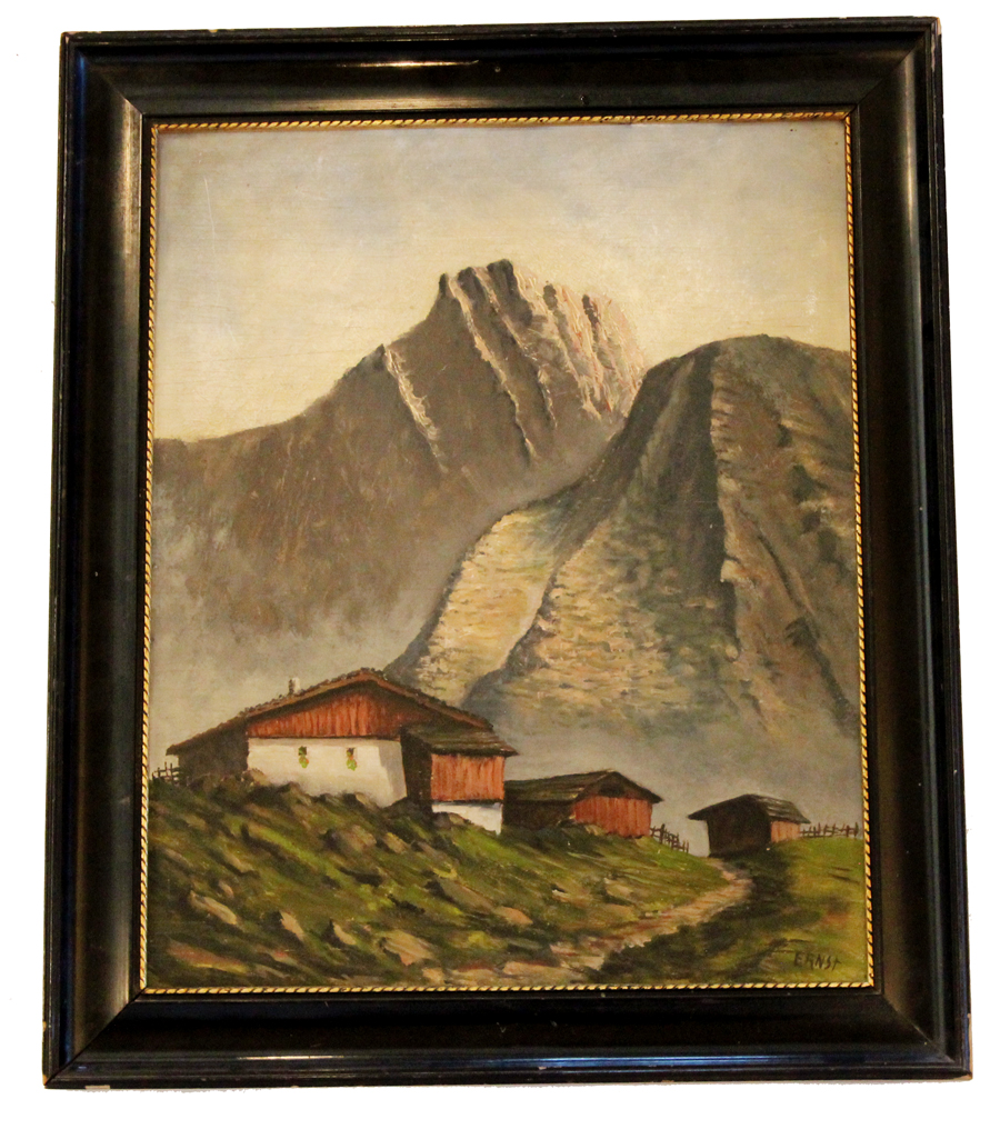 Antique Framed Landscape Scene Painting Signed Ernst