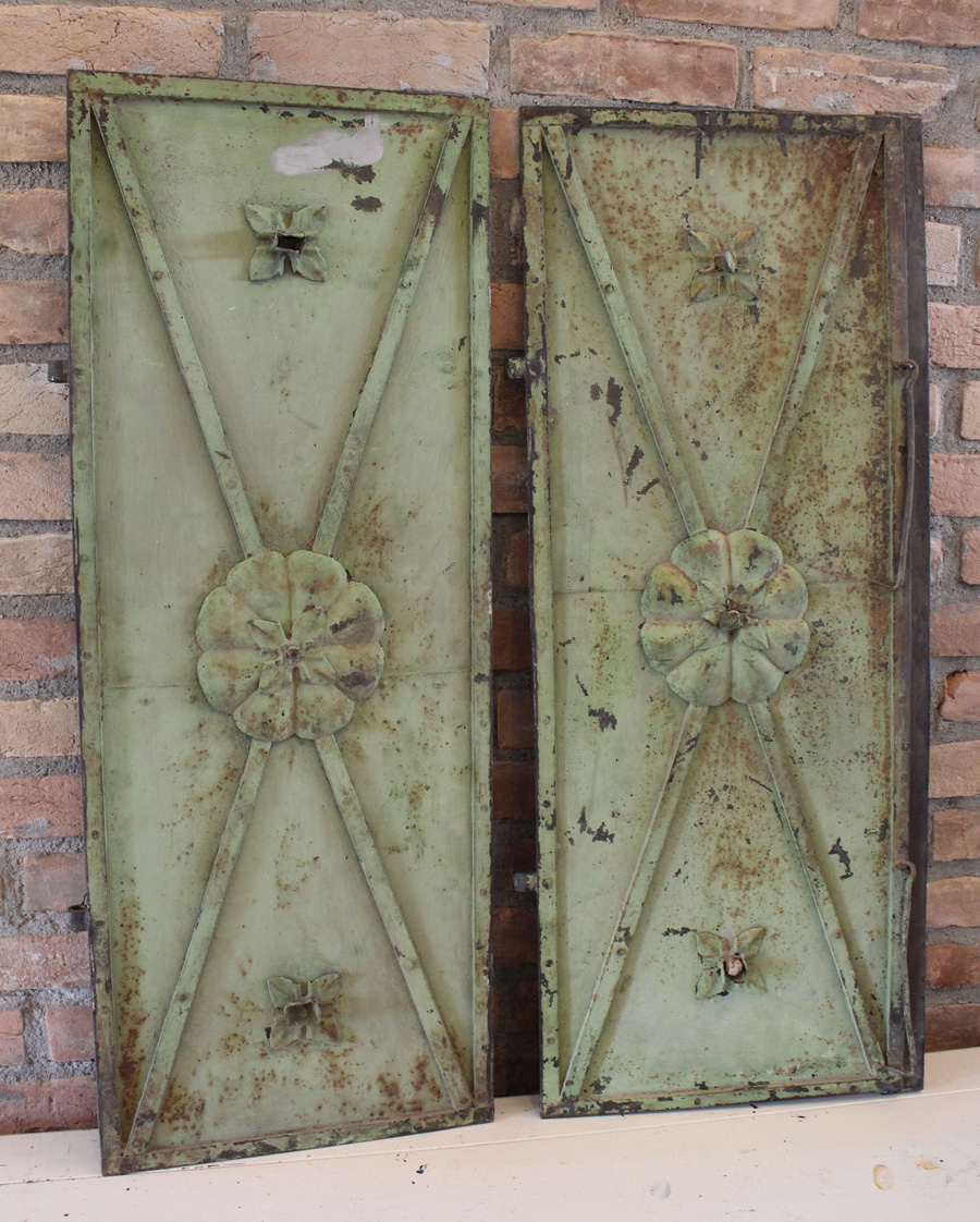 Pair French VerdiGreen Antique Metal Shutters 1800s