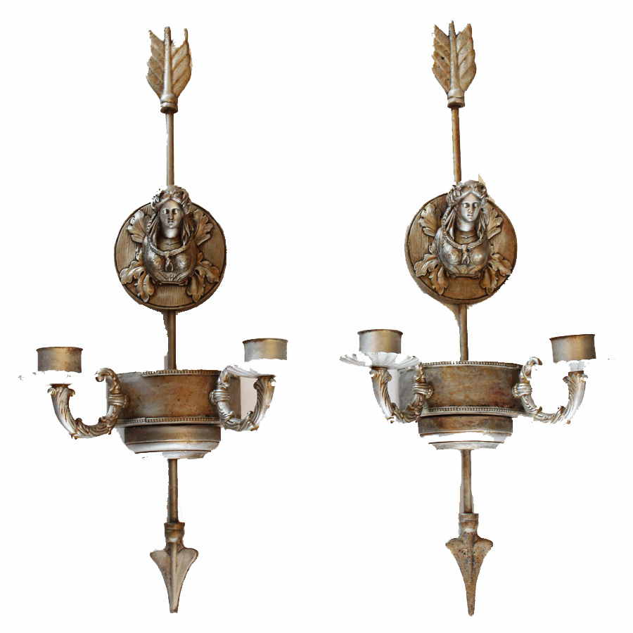 Pair Silver Gilt Vintage Wall Sconces Cherubs