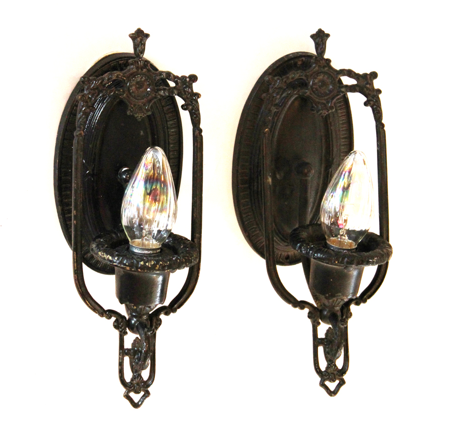 Pair of Antique Gothic Wrought Iron Wall Sconces